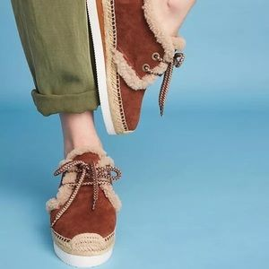 See by Chloe Glyn Genuine Shearling Espadrille